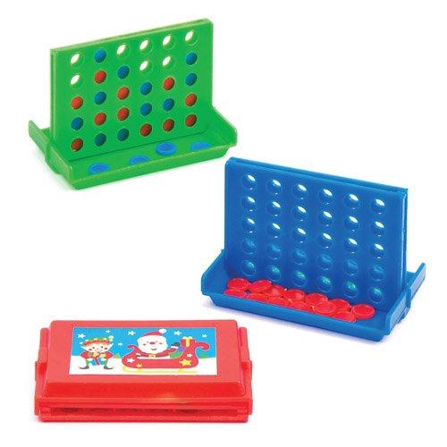Baker Ross- Juego de Navidad Mini 4 en a-Row – Juguete para niños, Fiesta, loot, Bolsa de Precios y Medias (6 Unidades), Multicolor (AV806)
