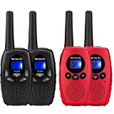 Retevis RT628 Walkie Talkie for Kids,Toy for 3-12 Year Old Boys Girls,Gifts for Camping, Hiking(Black,2 Pack) and Retevis RT628B Kids Walkie Talkies,Kids Toy Gifts for Outside Adventure(Red,2 Pack)