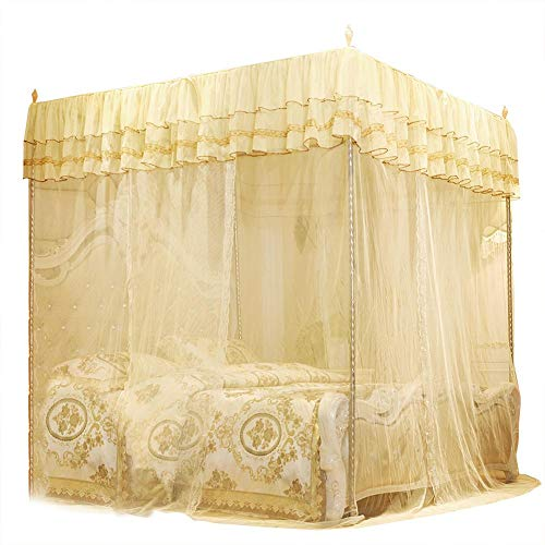 Jadpes 𝐂𝐡𝐫𝐢𝐬𝐭𝐦𝐚𝐬 𝐃𝐞𝐚𝐥 Lace Anti-Mosquito Yarn, Luxury Princess Three Side Openings Post Bed Curtain Canopy Netting Mosquito Net Bedding(180200200)