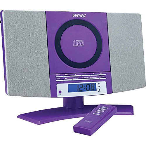 Denver Music Center (verticale CD-speler met LCD-display, AUX-In, wandhouder, wekkerradio) paars