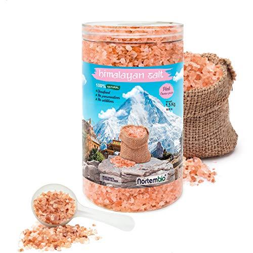 Nortembio Rosa Himalaya-Salz 1,5 Kg. Grob (2-5 mm). 100% Natürlich. Unraffiniert. Ohne Konservierungsstoffe. Von Hand extrahiert. Aus Punjab Pakistan. Premium-Qualität.
