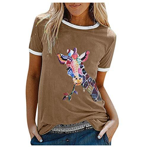Lialbert Damen Cartoon Esel Bedrucktes T Shirt Kurzarm Animal Print O Ausschnitt Grafik Casual Sommer Tops Tee Atmungsaktiv Rundhals Basic Bluse Tops