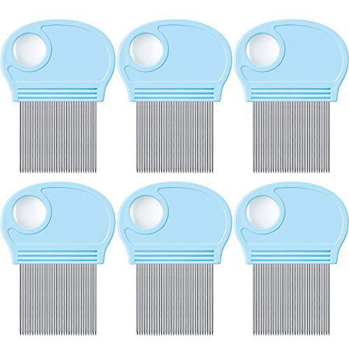 6 Pieces Head Lice Remover Nit Removal Hair Comb with Magnifier, Fine Metal Teeth Tool for Dogs Cats Pet Human Grooming and Removing Dandruff Flakes/Lice Eggs (Sky Blue)