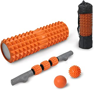 "ATIVAFIT 4 in 1 Foam Roller Set for Yoga,17.6"" Muscle Foam Roller with Muscle Roller Stick,Spiky Massage Ball, Solid Ball,..."