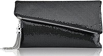 ROVOYCE Envelope Clutch Foldover Bling Metal Mesh Oversized Evening Purse with Metal Tassel