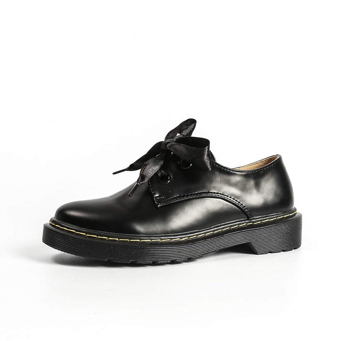 財政先見の明鳴らす[THLD] スムース レースアップシューズ レディース ドレスシューズ 歩きやすい 小さいサイズ 大きいサイズ マニッシュ ブラック レースアップ シンプル メンズライク ローヒール おじ靴 フラットシューズ