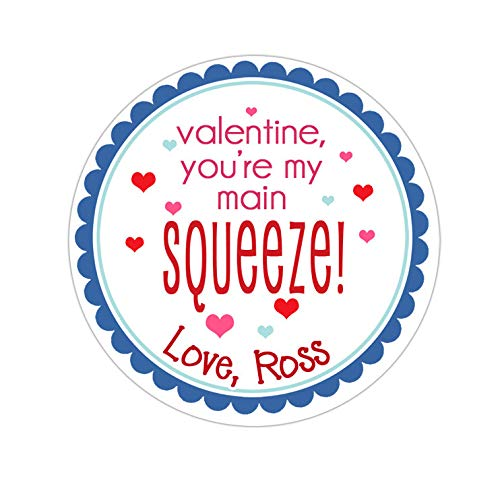 Yilooom Valentines Day Stickers, Personalized Blue Main Squeeze Valentines Stickers, Valentine Labels, Valentines Day Favor Stickers, 4 Inch In Width - 6 Pcs