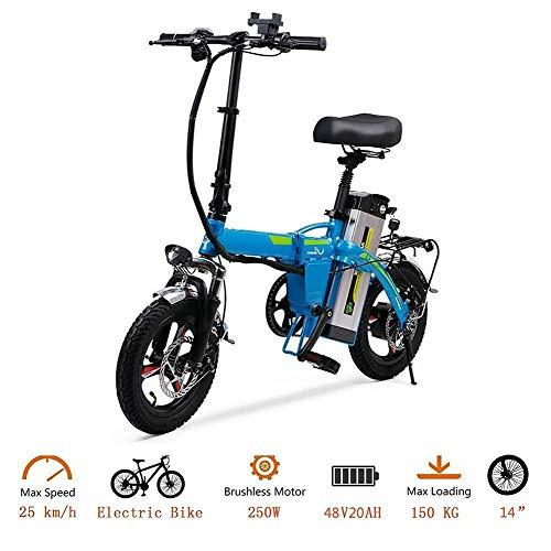 Plegable portátil de la bicicleta eléctrica, bicicleta eléctrica de 14 pulgadas Neumáticos 400W máximo 35 km/H E adulto bici QU526 (Color: Blanco) yqaae (Color : Blue)