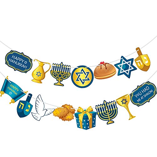 Hanukkah Flag Banner, Hanukkah Garland Chanukkah Party Bunting Hanukkah Sign Banner Party Backdrop Table Background Photo Booth Props for Party Decorations Supplies (Blue Hanukkah)