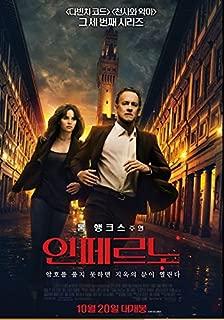 Inferno Tom Hanks 2016 Korean Mini Movie Posters Movie Flyers (A4 Size) 인페르노