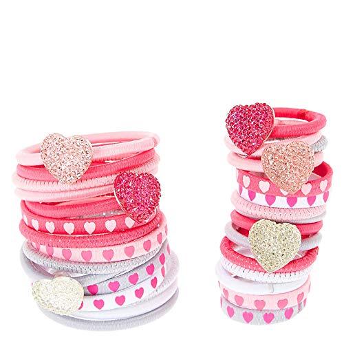 Weiqiao® Élastique de Cheveux en Tissu Rosé Motif de Coeur Headband Flexible Décoration de Tête pour Femme Fille 12 Pcs