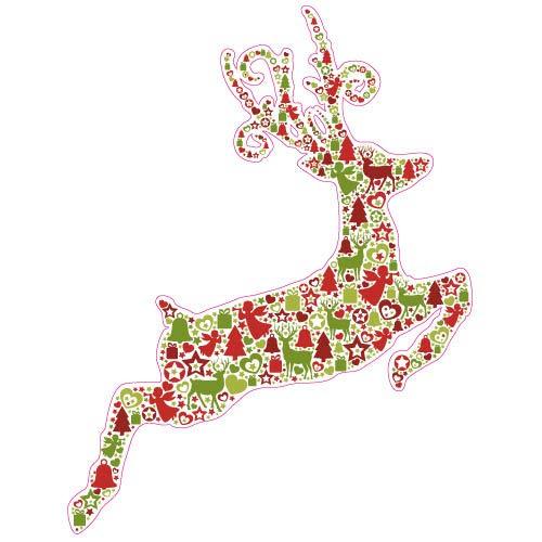 Sticker Renne de Noël (23x30cm) - Autocollant-Adhesif de Noël pour Vitre ou Surface Murale