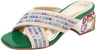 Melady Women Fashion Summer Shoes Sqaure Heels Slide Sandals