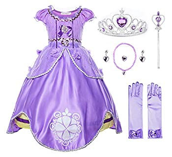 JerrisApparel Girls Princess Costume Floor Length Birthday Party Dress up  8 Purple with Accessories