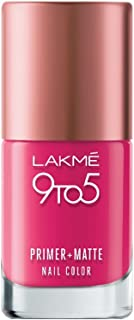 Lakme 9 to 5 Primer and Matte Nail Color, Magenta, 9ml