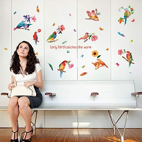 TYOLOMZ Leeuwerik Vogels Veer Bloemen Grote Muurstickers Art Decals Woonkamer Slaapkamer DIY Verwijderbaar