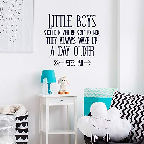 Nursery Vinyl Wall Decal Decor Quote Little Boys Should Never Be Sent to Bed, Peter Pan Quote Vinyl Wall Decal Decor Boys Room Decor Vinyl Wall Art, Vinyl Wall Decal Decor Kids Made in USA Vinyl
