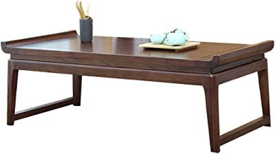 Living Room Coffee Table Solid Wood Tea Table Balcony Low Table Window Sill Table Laptop Table, Elm Material (Color : Walnut, Size : 60x40x30cm)