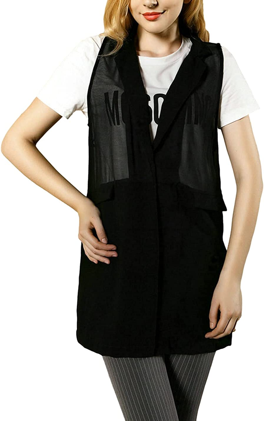 SeekMe Women's Oversized Chiffon Layering Vest Lightweight Draped Open Front Sleeveless Cardigan