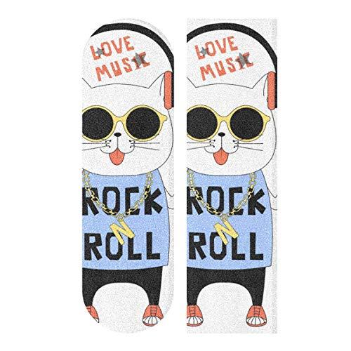 JEOLVP 33,1 x 9,1 Zoll Sport Outdoor Longboard Griffband Kopfhörer Musik Katze Tierdruck Wasserdichtes Skateboard Griffband für Tanzbrett Double Rocker Board Deck 1 Blatt