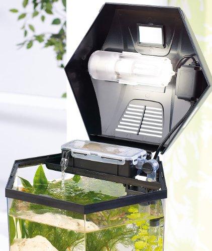 "infactory Beleuchtetes Panorama-Aquarium ""Hexagon"", Komplett-Set, 19 l - 6"