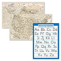 3パック – アンティークスタイルの世界地図ポスターセット + 原稿手書きABCアルファベットチャート (ラミネート 18インチ x 29インチ)