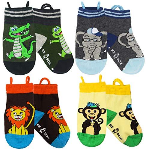 Ez Sox Jungen und Mädchen Kleinkind Socken, (3-5 Jahre, Alligator, Elephant, Monkey, Lion)