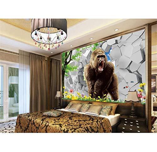 Rureng Benutzerdefinierte 3D Fototapete Wohnzimmer Wandbild Baum Gorilla Steinwand Bild Sofa Tv Hintergrund Vlies Tapete Für Wand 3D-120X100Cm