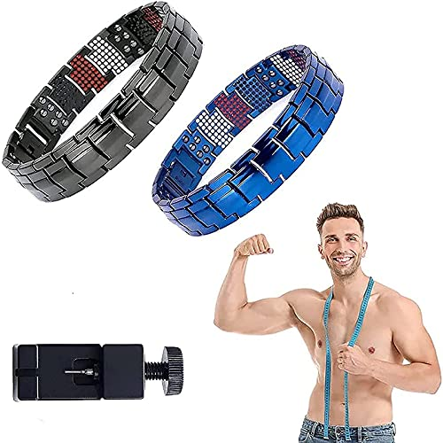 YJHC Magnetic Therapy Fit Plus Bracelet, Super Strength Magnetic Bracelet,Men's Dual Magnetic Wide Titanium Magnetotherapy.(Adjustable Length) (A)