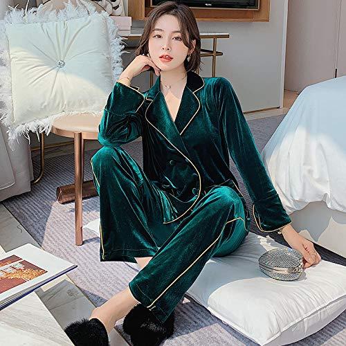 B/H Cuerpo Entero de Manga Larga para Mujer,Pijama de Terciopelo Simple de Invierno para Mujer, Green_L,Conjunto de Pijama para Mujer