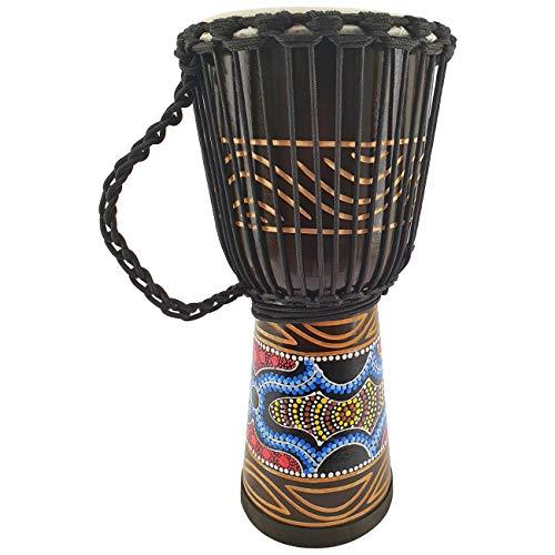 50cm Profi Djembe Trommel Bongo Drum Buschtrommel Percussion Motiv Buntes Muster Afrika Art - (Sehr gutes Instrument für Damen und Jugendliche guter Bass)