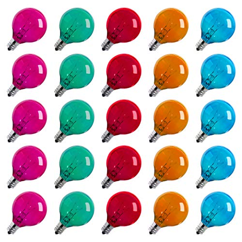 25-Pack Multicolor G40 Christmas Replacement Light Bulbs, UL Listed 5-Watt E12 C7 Candelabra Base Glass Bulbs with Transparent Coating, Easily Screw in Strings Spools Strands