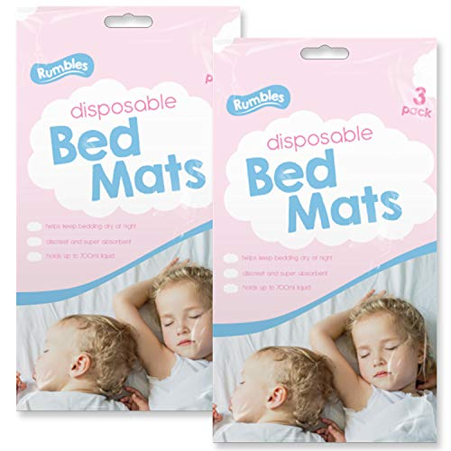 RUMBLES 6pk Disposable Bed Mats Travel Incontinence Sheets Baby Changing Mat Bedsheet | Discreet & Super Absorbent Children's Bedding