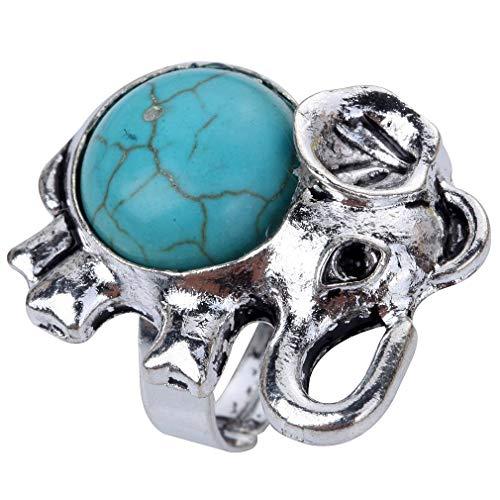 CHOUCHOU Collier Pendentif Vintage Lively Big Ring tibétain Argent Rond Rimous Turquoise incrusté éléphant en Forme Cadeau de Noel