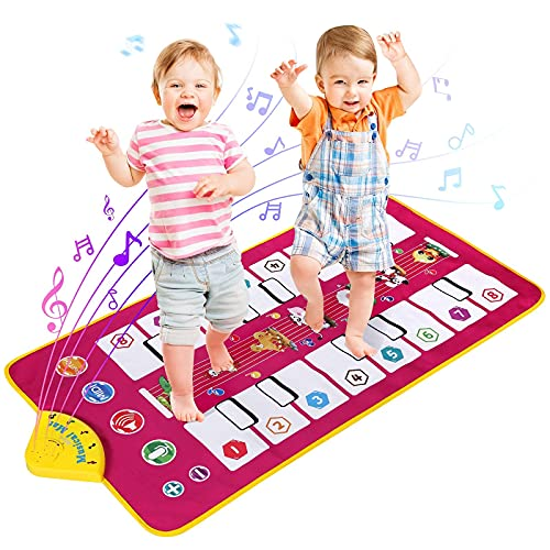 Lujex Kids Musical Mat,Kids Musical Keyboard Piano Mat,Electronic Piano Floor Mat with 7 Different Animal Sounds for Early Learning Education Toys Gift for Toddler Baby Boys Girls