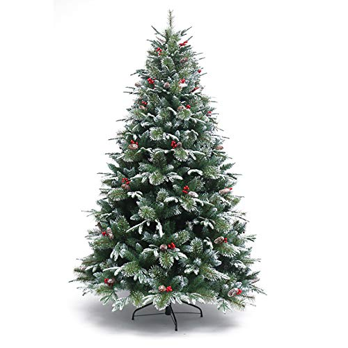 ZZFF 10ft Flocked Snow Hinged Artificial Christmas Tree,PVC Xmas Pine Tree With Realistic Branch Pine Cones Berries,Unlit Xmas Tree Metal Legs Outdoor Decor-Green 300cm/10ft