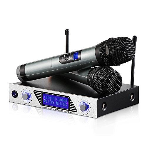 Micrófonos Inalámbricos Sistema de Micrófono Inalámbrico de Mano VHF Micrófonos Dinámicos de Mano doble y Pantalla LED para Cantar,Bar,Karaoke,Boda,Fiestas, Reunión