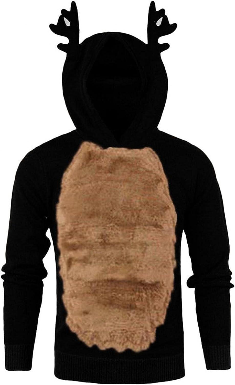 Aayomet Hoodies for Men Christmas Xmas 3D Elk Pullover Hoody Feather Hooded Contrast Long Sleeve Shirts