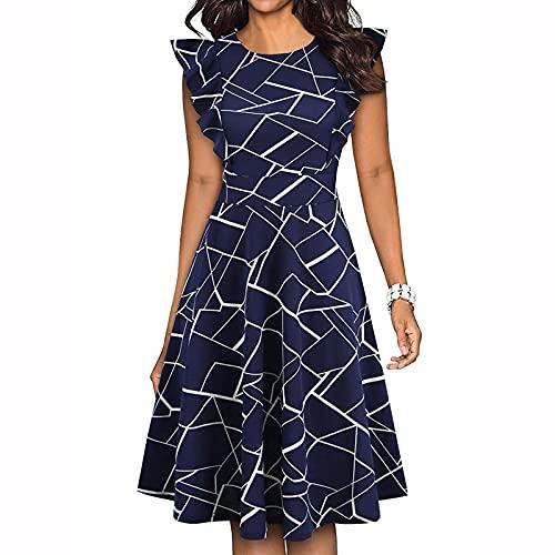 FOTBIMK Vestido de manga de loto para mujer, parte superior delgada, vestido de dobladillo suelto, flores y estampado de mariposas, vestidos retro, A-azul marino, L