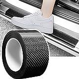 Adhesivo de fibra de carbono, 7cm x 10 m protector de cantos de puerta de coche fibra de carbono, adhesivo para la protección de los cantos de la puerta del coche, parachoques delantero y trasero