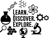 Science Wall Decal Learn Discover Explore Chemistry Classroom Sign Education Motivation Vinyl Sticker Study Quote Gift School Decor Room Art Stencil Decor Mural Removable Poster 49me