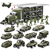 JOYIN 14 in 1 Die-cast Military Truck Army Vehicle Toy Set with Soldier Men, Mini Battle Car Toy in Carrier Truck with Lights and Sounds, Kids Birthday Gifts for Over 3 Years Old Boys