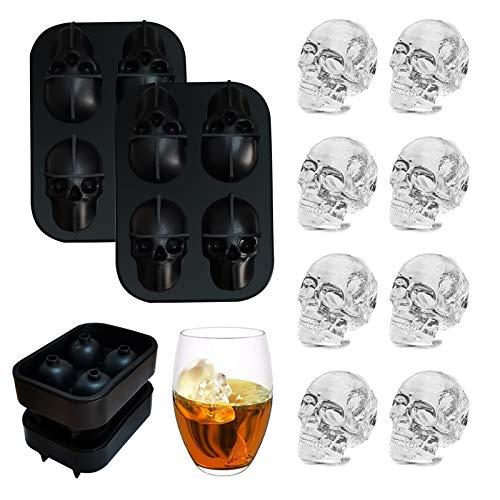 Totenkopf-Eiswürfelform, 3D-Silikon-Eiswürfelform, für Weihnachten, Halloween, Whiskey, Cocktails, Saft