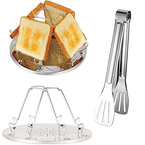 tintoke 4 Scheiben Toastablett Toastregal Herd Toaster Edelstahl Camping Toaster Rack von, Zusammenklappbarer Campingkocher Toaster, mit 7 Zoll Edelstahl Grillzange, Für Familiencamping im Freien