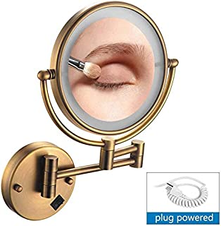 Makeup Mirror Lighted Wall Mounted Makeup Mirror, 8inch Magnifying 1x/5x LED Shaving Mirror, Extendable/Plug Power Supply, Shaving in Bedroom or Bathroom,Rosegold (Color : Copper)