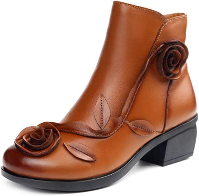 GIY Women's Winter Retro Flower Ankle Boots Exotic Leather Zipper Block Mid Heel Bootie Dress Short Boots