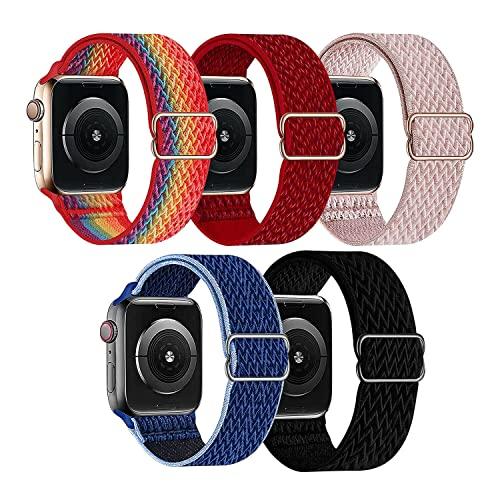 Bandas elásticas de nailon elásticas compatibles con Apple Watch Series SE 7 6 5 4 3 2 1 38/40/42 / 44mm Iwatch correa de nailon, elásticos deportivos trenzados para hombres y mujeres (5 Paquetes)