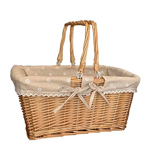 Tylyund Cesta de mimbre para pícnic, cesta de la compra, cesta de la compra, cesta de ratán, cesta de frutas, cesta de verduras, cesta de picnic