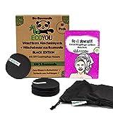 EcoYou® Abschminkpads Waschbar 100% BIO-Baumwolle in Schwarz 10er Set Inkl. DIY-Rezepte &...