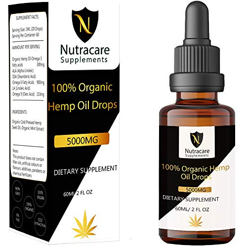 High Strength Premium Hemp Oil Drops 5000mg 60ML 100% Pure Organic, Cold Pressed, Natural Sleep Aid for Pain Relief, Anxiety and Stress Vegan Ingredients Rich in Omega 3-6-9 Vitamins Nutracare Supple